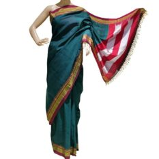 GiTAGGED Ilkal Rama Green Cotton-Silk Saree With Maroon Border 1