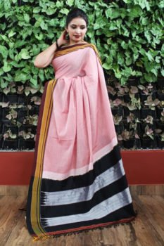 Ilkal Baby Pink Cotton-Silk Saree With Coffee Brown Border 1