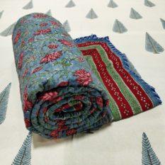 GiTAGGED Blue Color Floral Motif Sanganeri Hand Block Printed Comforter 1