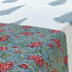 GiTAGGED Blue Color Floral Motif Sanganeri Hand Block Printed Comforter 2