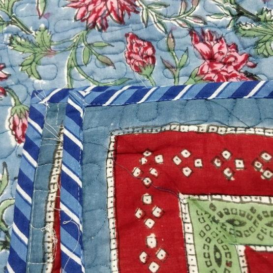 GiTAGGED Blue Color Floral Motif Sanganeri Hand Block Printed Comforter 3
