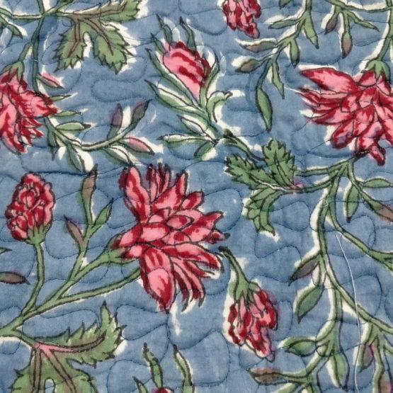 GiTAGGED Blue Color Floral Motif Sanganeri Hand Block Printed Comforter 5