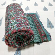 GiTAGGED Dark-Green Color Floral Motif Sanganeri Hand Block Printed Comforter 1