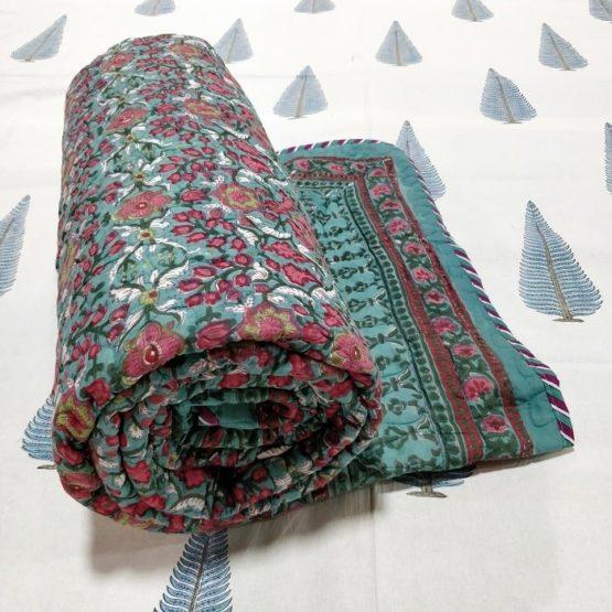 GiTAGGED Dark-Green Color Floral Motif Sanganeri Hand Block Printed Comforter 1