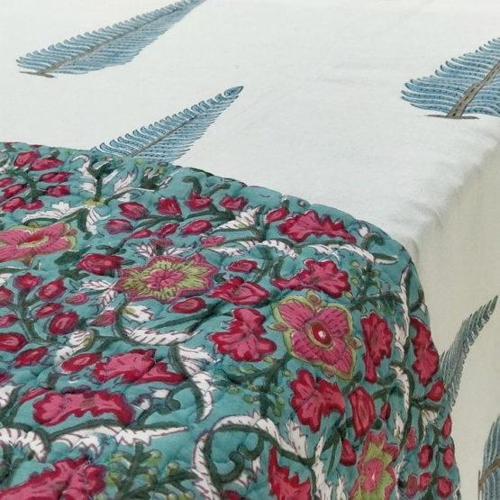 GiTAGGED Dark-Green Color Floral Motif Sanganeri Hand Block Printed Comforter 2