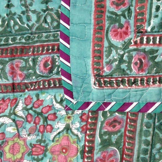 GiTAGGED Dark-Green Color Floral Motif Sanganeri Hand Block Printed Comforter 3