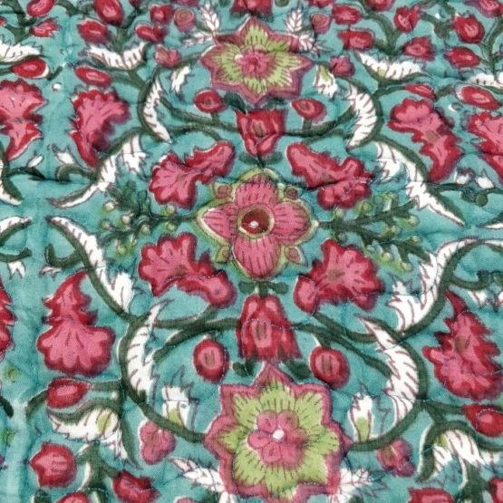 GiTAGGED Dark-Green Color Floral Motif Sanganeri Hand Block Printed Comforter 5