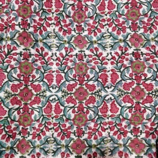 GiTAGGED Dark-Green Color Floral Motif Sanganeri Hand Block Printed Comforter 6