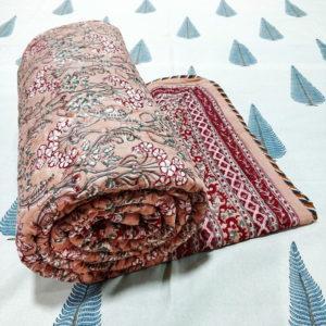 GiTAGGED Dark Salmon Color Floral Motif Sanganeri Hand Block Printed Comforter 1