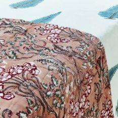 GiTAGGED Dark Salmon Color Floral Motif Sanganeri Hand Block Printed Comforter 2