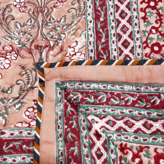 GiTAGGED Dark Salmon Color Floral Motif Sanganeri Hand Block Printed Comforter 3