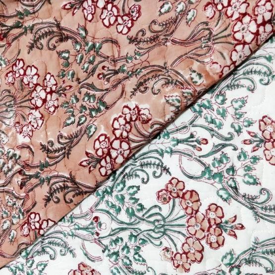 GiTAGGED Dark Salmon Color Floral Motif Sanganeri Hand Block Printed Comforter 4