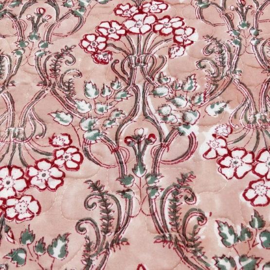 GiTAGGED Dark Salmon Color Floral Motif Sanganeri Hand Block Printed Comforter 5