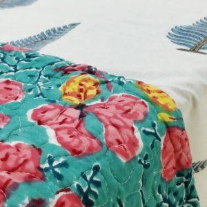 GiTAGGED Green Color Floral Motif Sanganeri Hand Block Printed Comforter 2