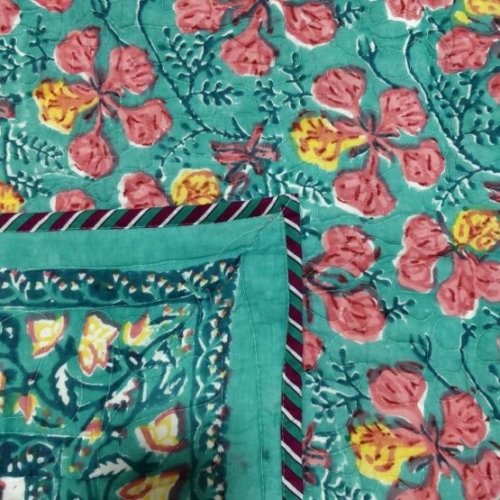 GiTAGGED Green Color Floral Motif Sanganeri Hand Block Printed Comforter 3