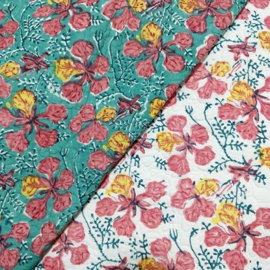 GiTAGGED Green Color Floral Motif Sanganeri Hand Block Printed Comforter 4