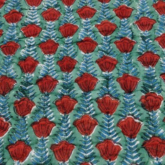 GiTAGGED Green Color Red Rose Pattern Sanganeri Hand Block Printed Comforter 5
