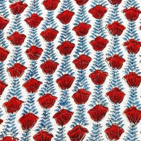 GiTAGGED Green Color Red Rose Pattern Sanganeri Hand Block Printed Comforter 6