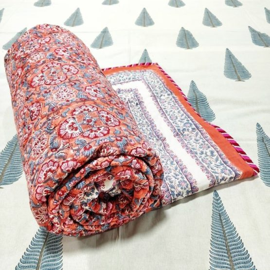 GiTAGGED Orange Color Floral Motif Sanganeri Hand Block Printed Comforter 1
