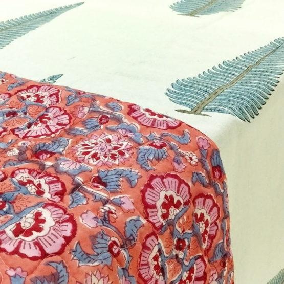 GiTAGGED Orange Color Floral Motif Sanganeri Hand Block Printed Comforter 2