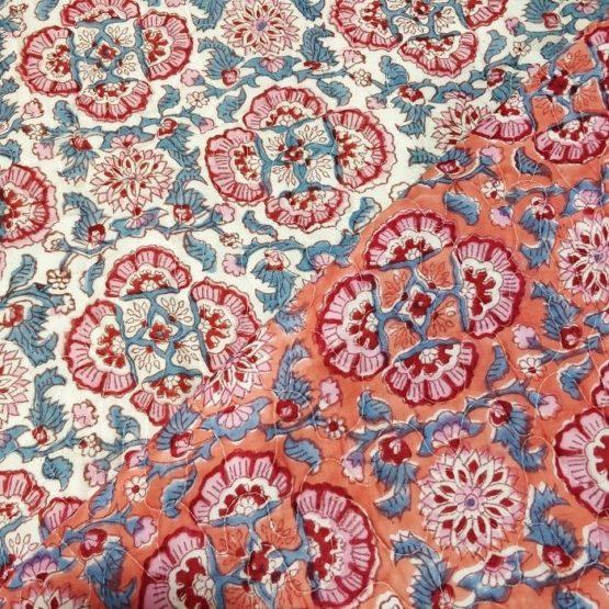GiTAGGED Orange Color Floral Motif Sanganeri Hand Block Printed Comforter 4