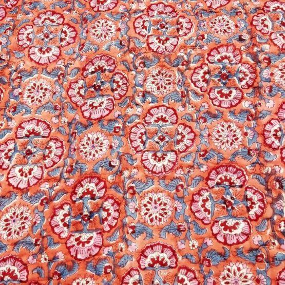 GiTAGGED Orange Color Floral Motif Sanganeri Hand Block Printed Comforter 5