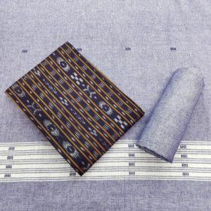 GiTAGGED Orissa Ikat Blue-Grey Salwar Suit Set Set 1