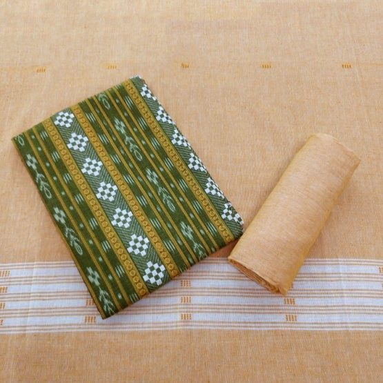 GiTAGGED Orissa Ikat Green Geometric Salwar Suit Set 1