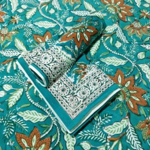 GiTAGGED Sanganeri Hand Block Printed Green Bedsheet With Pillow Covers 1