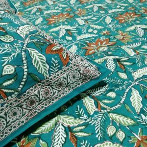GiTAGGED Sanganeri Hand Block Printed Green Bedsheet With Pillow Covers 2