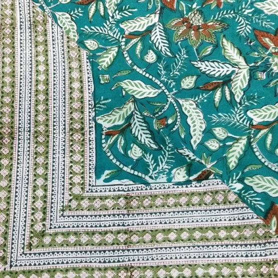 GiTAGGED Sanganeri Hand Block Printed Green Bedsheet With Pillow Covers 3