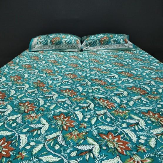GiTAGGED Sanganeri Hand Block Printed Green Bedsheet With Pillow Covers 4