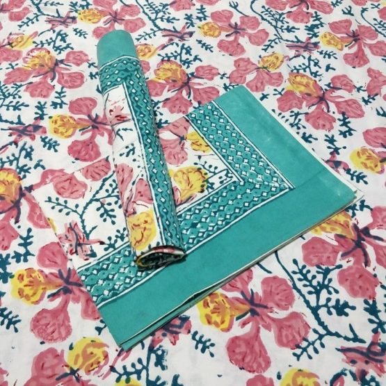 GiTAGGED Sanganeri Hand Block Printed Hibiscus Pattern Bedsheet With Pillow Covers 1