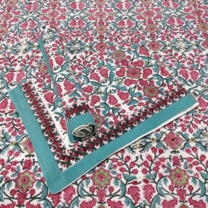 GiTAGGED Sanganeri Hand Block Printed Red-Green Floral Pattern Bedsheet With Pillow Covers 1