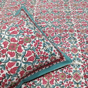 GiTAGGED Sanganeri Hand Block Printed Red-Green Floral Pattern Bedsheet With Pillow Covers 2