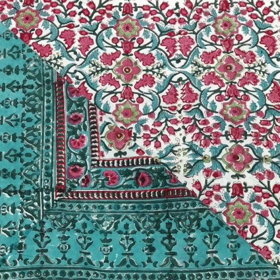 GiTAGGED Sanganeri Hand Block Printed Red-Green Floral Pattern Bedsheet With Pillow Covers 3