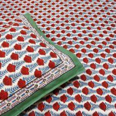 GiTAGGED Sanganeri Hand Block Printed Rose Pattern Bedsheet With Pillow Covers 2