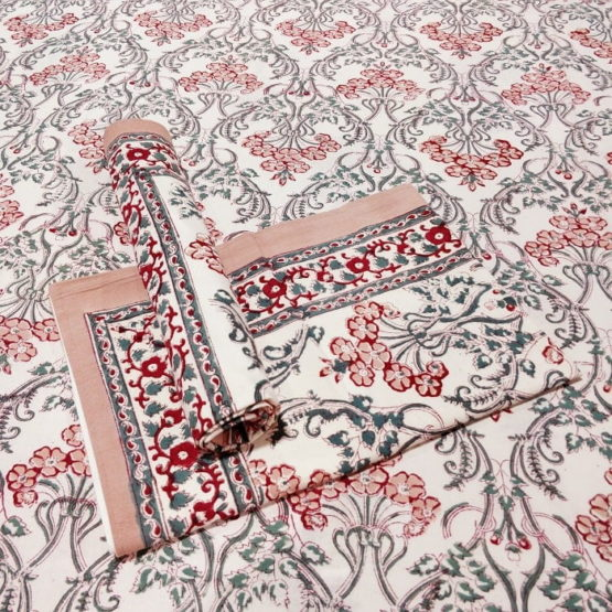 GiTAGGED Sanganeri Hand Block Printed Salmon Floral Motifs Bedsheet With Pillow Covers 1