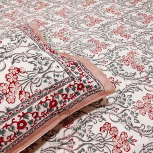 GiTAGGED Sanganeri Hand Block Printed Salmon Floral Motifs Bedsheet With Pillow Covers 2