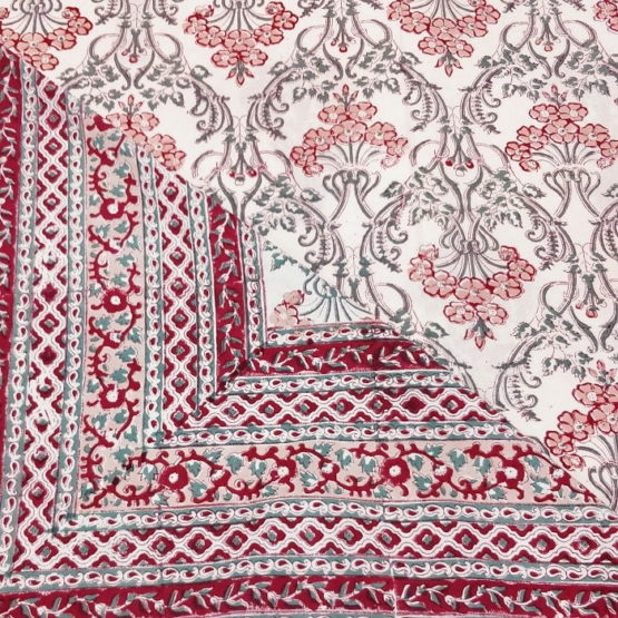 GiTAGGED Sanganeri Hand Block Printed Salmon Floral Motifs Bedsheet With Pillow Covers 3