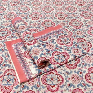 GiTAGGED Sanganeri Hand Block Printed Salmon Floral Print Bedsheet With Pillow Covers 1