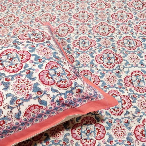 GiTAGGED Sanganeri Hand Block Printed Salmon Floral Print Bedsheet With Pillow Covers 2