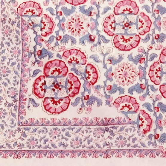 GiTAGGED Sanganeri Hand Block Printed Salmon Floral Print Bedsheet With Pillow Covers 3
