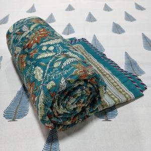 GiTAGGED Teal Color Floral Motif Sanganeri Hand Block Printed Comforter 1