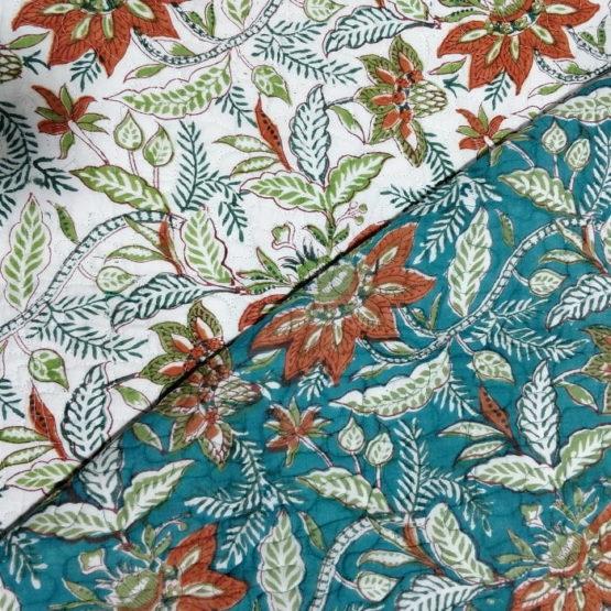 GiTAGGED Teal Color Floral Motif Sanganeri Hand Block Printed Comforter 4