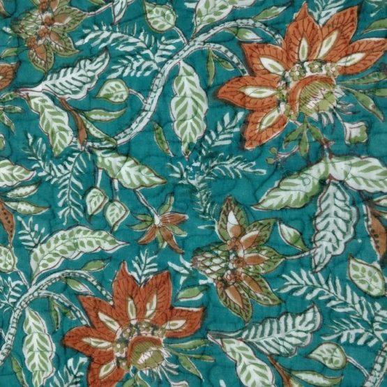 GiTAGGED Teal Color Floral Motif Sanganeri Hand Block Printed Comforter 5