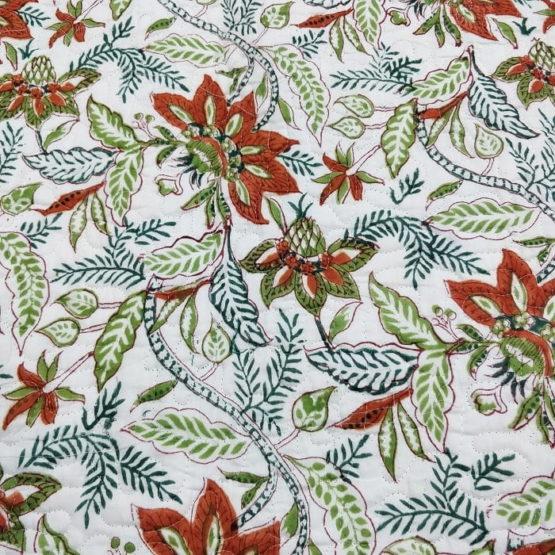 GiTAGGED Teal Color Floral Motif Sanganeri Hand Block Printed Comforter 6
