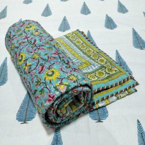 GiTAGGED Turquoise Color Floral Motif Sanganeri Hand Block Printed Comforter 1