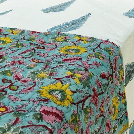 GiTAGGED Turquoise Color Floral Motif Sanganeri Hand Block Printed Comforter 2