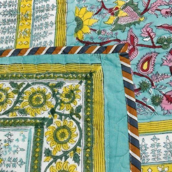 GiTAGGED Turquoise Color Floral Motif Sanganeri Hand Block Printed Comforter 3